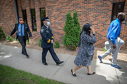 Minneapolis Police Chief Medaria Arradondo and George Floyd's family members arrive for a memorial service for Floyd at North Central University in Minneapolis on Wenesday, June 4, 2020. (Elizabeth Flores/Minneapolis Star Tribune/TNS)