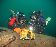 LungFish rebreather and KISS Spirit Rebreather divers on school bus wreck at Dutch Springs,  Scuba Diving Resort in Pennsylvania