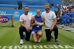 June 25, 2017 - Birmingham, England - PETRA KVITOVA and her team pose with the Maud Watson trophy after Petra won the Aegon Classic Birmingham tennis tournament. (Credit Image: © Christopher Levy via ZUMA Wire)