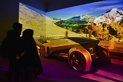"""© Licensed to London News Pictures. 19/09/2017. London, UK. Automotive manufacturer Jaguar presents an immersive view of the future at an exhibition called """"Design Frontiers'' at Somerset House.  Forming part of London Design Festival, the exhibition showcases works from over 30 international designers. Photo credit : Stephen Chung/LNP"""