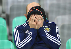 A Scotland fan appears dejected after the final whistle during the 2018 FIFA World Cup Qualifying Group F match at Stadion Stozice, Ljubljana.