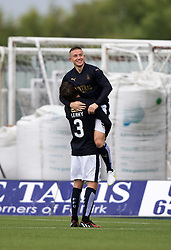 Falkirk's John Baird (9) celebrates with Falkirk's Luke Leahy after scoring their third goal. Falkirk 3 v 1 East Fife, Petrofac Training Cup played 25th July 2015 at The Falkirk Stadium.