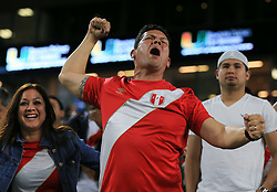 March 23, 2018 - Miami Gardens, Florida, USA - Peruvian fans celebrate the second goal of a FIFA World Cup 2018 preparation match between the Peru National Soccer Team and the Croatia National Soccer Team at the Hard Rock Stadium in Miami Gardens, Florida. (Credit Image: © Mario Houben via ZUMA Wire)