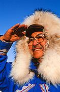 Alaska. Native Eskimo looking over tundra.