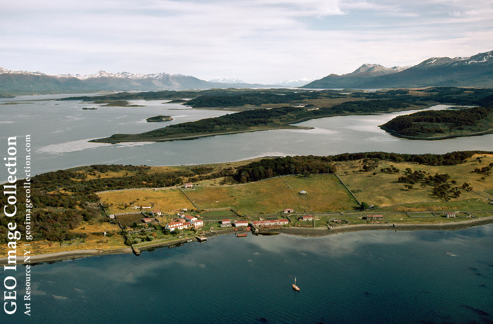 Aerial of sheep farm and the Beagle channel on Tierra del Fuego.