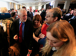 File photo dated 30/06/16 of Labour leader Jeremy Corbyn passing Marc Wadsworth (right) after giving a speech on Labour's anti-Semitism inquiry findings. Labour activist Wadsworth has been expelled from the party after launching a verbal attack on MP Ruth Smeeth at the launch of a party report into anti-Semitism.