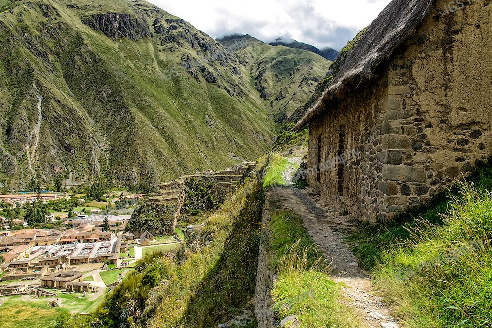 Inca Food storage facility in the ancient inca city of Ollantaytambo