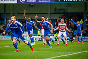 Gillingham players run over to celebrate with goal scorer Gillingham FC defender Thomas O'Connor  (24) (out of frame) during the EFL Sky Bet League 1 match between Gillingham and Doncaster Rovers at the MEMS Priestfield Stadium, Gillingham, England on 15 February 2020.