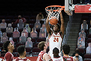 Southern California Trojans forward Joshua Morgan  (24) dunks during an NCAA men's basketball game against the Stanford Cardinal, Wednesday, March 3, 2021, in Los Angeles. USC defeated Stanford 79-42. (Jon Endow/Image of Sport)