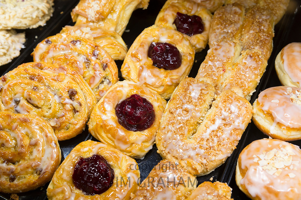 Continental German pastries in marzipan pastry shop in Lubeck, Germany