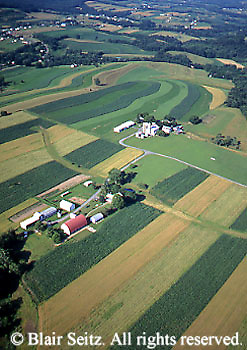 PA Landscapes, Southcentral Pennsylvania, Aerial Photographs Farmlands, Mixed Cultivation and Contour Farming, Family Farms, Cumberland County, PA