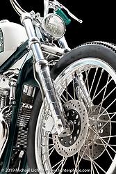 """""""'Tough Guy Girls Bike"""", A White Short Chop Style, made from a 2000 HD Sportster, by Christian Newman, in  Buffalo, NY.  Photographed by Michael Lichter in Sturgis, SD on 8/3/18. ©2018 Michael Lichter."""