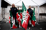 A supporters of Italy's Former Premier Silvio Berlusconi, while he waits for Berlusconi's speech at a rally organized outside of his Rome residence, during day of his decline from senator. Roma, 27 november 2013. Christian Mantuano / OneShot
