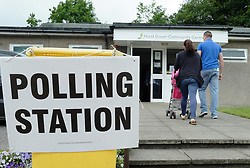 June 8, 2017 - Hurst Green, England, United Kingdom - A couple walks into a polling station to open on June 8, 2017 in  Hurst Green, a small village in the Ribble Valley district of Lancashire, England. Polling stations have opened as the nation votes to decide the next UK government in a general election. (Credit Image: © Jay Shaw Baker/NurPhoto via ZUMA Press)