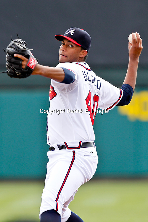 March 19, 2012; Lake Buena Vista, FL, USA; Atlanta Braves starting pitcher Randall Delgado (40) throws against the St. Louis Cardinals during a spring training game at Disney Wide World of Sports complex. Mandatory Credit: Derick E. Hingle-US PRESSWIRE