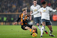 Football - 2016 / 2017 League (EFL )Cup - semi-Final, Second leg: Hull City vs. Manchester United<br /> <br /> Marcos Rojo of Manchester United and Jarrod Bowen of Hull City during the match at  Kcom Stadium<br /> <br /> COLORSPORT/LYNNE CAMERON