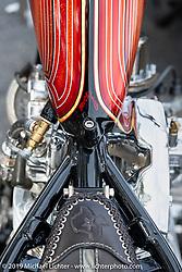 Xavier Muriel's Harley-Davidson Pan-Shovel named Grace at the First Turn Restaurant during Daytona Beach Bike Week, FL. USA. Monday, March 11, 2019. Photography ©2019 Michael Lichter.