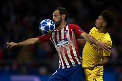 November 6, 2018 - Madrid, Spain - Juanfran of Atletico Madrid and Jadon Sancho of Borussia Dortmund during the Group A match of the UEFA Champions League between AtleticoLucien Favre of Borussia Dortmund Madrid and Borussia Dortmund at Wanda Metropolitano Stadium, Madrid on November 07 of 2018. (Credit Image: © Jose Breton/NurPhoto via ZUMA Press)