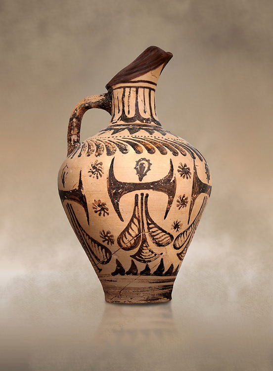Minoan  beak spouted jug with double axe and sacred knot  decoration, Hagia Triada Royal Villa 1500-1540 BC; Heraklion Archaeological  Museum. .<br /> <br /> If you prefer to buy from our ALAMY PHOTO LIBRARY  Collection visit : https://www.alamy.com/portfolio/paul-williams-funkystock/minoan-art-artefacts.html . Type -   Heraklion   - into the LOWER SEARCH WITHIN GALLERY box. Refine search by adding background colour, place, museum etc<br /> <br /> Visit our MINOAN ART PHOTO COLLECTIONS for more photos to download  as wall art prints https://funkystock.photoshelter.com/gallery-collection/Ancient-Minoans-Art-Artefacts-Antiquities-Historic-Places-Pictures-Images-of/C0000ricT2SU_M9w
