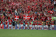 Team of Denmark and fans after the 2018 FIFA World Cup Russia, Group C football match between Denmark and France on June 26, 2018 at Luzhniki Stadium in Moscow, Russia- Photo Tarso Sarraf / FramePhoto / ProSportsImages / DPPI