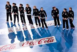 Players of Larvik before 3rd Main Round of Women Champions League handball match between RK Krim Mercator, Ljubljana and Larvik HK, Norway on February 19, 2010 in Arena Kodeljevo, Ljubljana, Slovenia. Larvik defeated Krim 34-30. (Photo by Vid Ponikvar / Sportida)