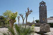 The belltower of the church of Panayia, first built in Byzantine times, Anoghi, Ithaca, Greece. The Greek island is situated in the Ionian Sea off the northeast coast of Kefalonia. Since antiquity, Ithaca has been identified as the home of the mythological hero Odysseus.