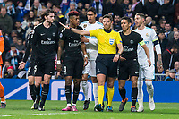 Real Madrid Raphael Varane and Sergio Ramos and PSG Giovani Lo Celso, Presnel Kimpembe and Adrien Rabiot  during Eight Finals Champions League match between Real Madrid and PSG at Santiago Bernabeu Stadium in Madrid , Spain. February 14, 2018. (ALTERPHOTOS/Borja B.Hojas)