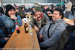 Despite a cool temperature of 40 degrees F / 4.5 C, the outside areas at Motor Bike Expo were packed with visitors enjoying the good food and drink. Verona, Italy. Saturday January 21, 2017. Photography ©2017 Michael Lichter.