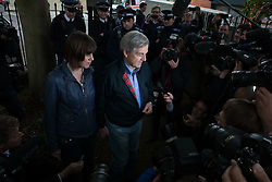 Chris Huhne arriving back at his home in London with girlfriend Carina Trimingham after his release from prison , Monday 13th May 2013. Photo by: Daniel Leal-Olivas / i-Images