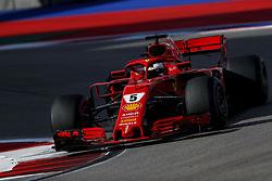 September 30, 2018 - Sochi, Russia - SEBASTIAN VETTEL of Scuderia Ferrari drives during the 2018 FIA Formula 1 Russian Grand Prix at Sochi Autodrom. (Credit Image: © James Gasperotti/ZUMA Wire)