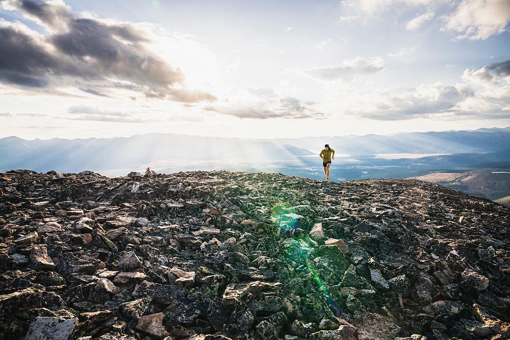 Joe Grant hits the summit of Mount Sheridan, Leadville, Colorado.