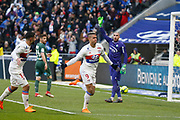 Mariano Diaz of Lyon and Nabil Fekir of Lyon and Stéphane Ruffier of Saint Etienne during the French Championship Ligue 1 football match between Olympique Lyonnais and AS Saint-Etienne on february 25, 2018 at Groupama stadium in Décines-Charpieu near Lyon, France - Photo Romain Biard / Isports / ProSportsImages / DPPI