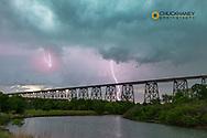 Lightning and the High Line Bridge over the Sheyenne River in Valley City, North Dakota, USA