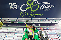 Winner Rigoberto Uran of Team EF Education Cannondale celebrates in green jersey as best in overall classification during trophy ceremony after the 3rd Stage of 25th Tour de Slovenie 2018 cycling race between Slovenske Konjice and Celje (175,7 km), on June 15, 2018 in  Slovenia. Photo by Vid Ponikvar / Sportida
