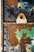 Rusted bunker door, July, Fort Worden State Park, Jefferson County, Washington, USA