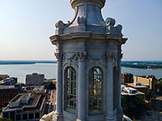 Photograph of the cupola on the top of Wisconsin's State Capitol Building on a beautiful summer morning. Madison, Wisconsin, USA.