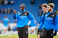 Notts County forward Jonathan Forte (14) sharing a joke during warm up before the EFL Sky Bet League 2 match between Chesterfield and Notts County at the Proact stadium, Chesterfield, England on 25 March 2018. Picture by Nigel Cole.
