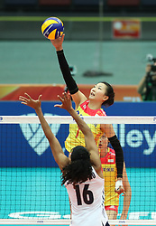 OSAKA, Oct. 10, 2018  Yuan Xinyue (top) of China spikes during the Pool F match against the United States at the 2018 Volleyball Women's World Championship in Osaka, Japan, Oct. 10, 2018. China won 3-0. (Credit Image: © Du Xiaoyi/Xinhua via ZUMA Wire)