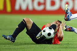 Santi Cazorla of Spain (12)  injured by Fabio Grosso of Italy (3) during the UEFA EURO 2008 Quarter-Final soccer match between Spain and Italy at Ernst-Happel Stadium, on June 22,2008, in Wien, Austria. Spain won after penalty shots 4:2. (Photo by Vid Ponikvar / Sportal Images)