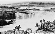 9305-B7354. A postcard view of Celilo falls dating to the late 1920s.