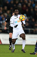 Wilfried Bony of Swansea city in action. Premier league match, Swansea city v West Bromwich Albion at the Liberty Stadium in Swansea, South Wales on Saturday 9th December 2017.<br /> pic by  Andrew Orchard, Andrew Orchard sports photography.