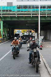 Nick Toscano at the head of a ride around Tokyo with friends of the Freewheelers And Company shop, Japan. December 8, 2015.  Photography ©2015 Michael Lichter.