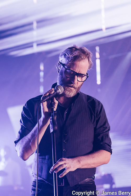 The National perform live on the first of four nights at the Eventim Apollo, Hammersmith, London on Monday 25 September 2017. Photo shows Matt Berninger.