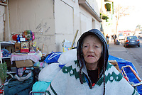 Sixty-nine year-old Maria Guadalupe Lozano, on Thursday, January 31st, just before authorities, in a sweep of the area, removed ninety percent of her possessions from the doorway she occupied on Soledad Street.