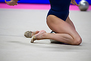 Zohra Aghamirova from Azerbaijan performs at the ball during the Pesaro 2021 World Cup.