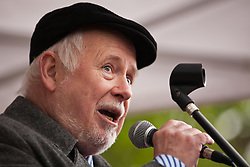 Luton, UK. 5th May, 2012. Kelvin Hopkins, Labour MP for Luton North, addresses the We Are Luton/Stop The EDL rally, organised by We Are Luton and Unite Against Fascism in protest against a march by around 3,000 supporters of the far-right English Defence League.