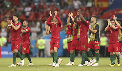 SOCHI, June 15, 2018  Portugal's players greet the audience after a group B match between Portugal and Spain at the 2018 FIFA World Cup in Sochi, Russia, June 15, 2018. The match ended in a 3-3 draw. (Credit Image: © Fei Maohua/Xinhua via ZUMA Wire)