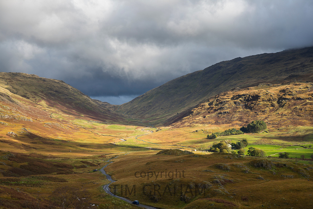 Wrynose Pass from Hardknott Pass in the Lake District, Cumbria, UK