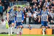 Aaron Connolly (Brighton) following his 2nd goal to give Brighton a 3-0 lead in the 2nd half with Adam Webster (Brighton) saying something to him during the Premier League match between Brighton and Hove Albion and Tottenham Hotspur at the American Express Community Stadium, Brighton and Hove, England on 5 October 2019.