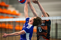 Daan Haanappel of Vocasa, Luuk Hofhuis of Talent Team in action during the first league match in the corona lockdown between Talentteam Papendal vs. Vocasa on January 13, 2021 in Ede.